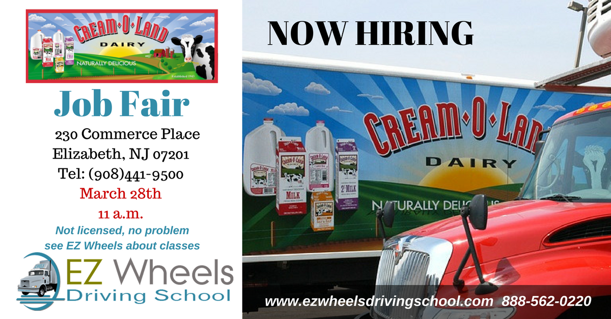Now Hiring Truck Drivers Cream O Land Job Fair Elizabeth NJ