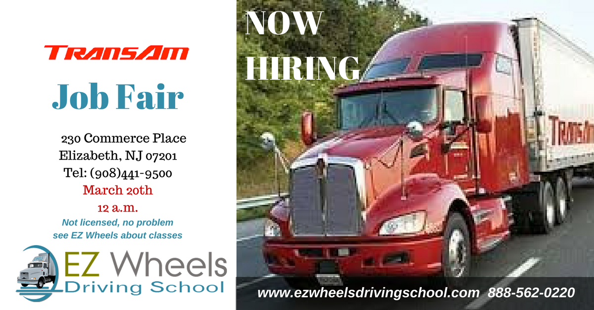 Truck Driver Job Fair Elizabeth NJ Trans Am Now Hiring
